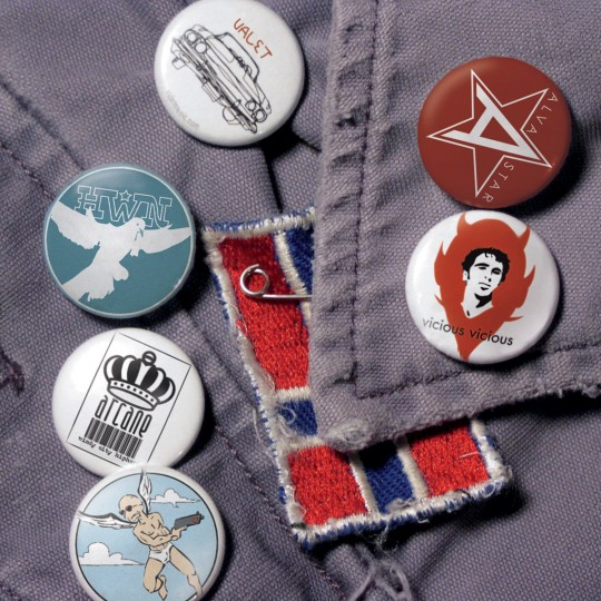 Buttons of various band logos created while at 2024 records