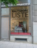 Baltimore Liste Logotype installed in the gallery window